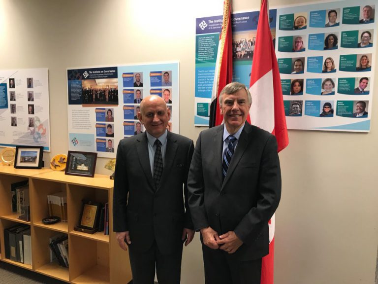 Ambassador of the Republic of Iraq to Ottawa meets with the President of the Canadian Institute of Governance %D9%85%D8%B9%D9%87%D8%AF-%D8%A7%D9%84%D8%AD%D9%88%D9%83%D9%85%D8%A9-1024x768-768x576