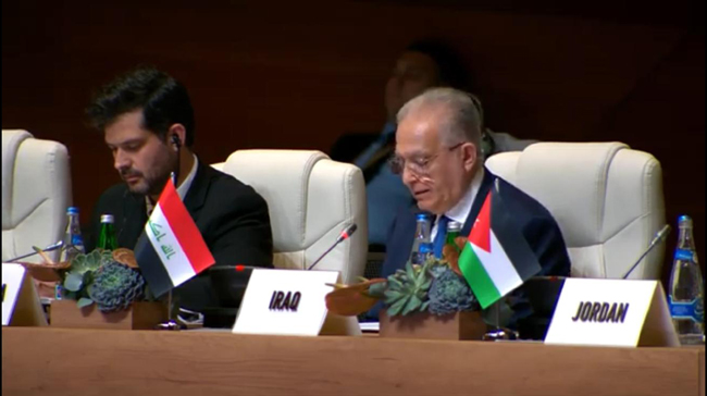 Foreign Ministers of the Hashemite Kingdom of Jordan, Egypt, and Iraq today held a trilateral meeting on the sidelines of the 18th Summit of the Non-Aligned Movement in Baku, Azerbaijan. DZOC1120