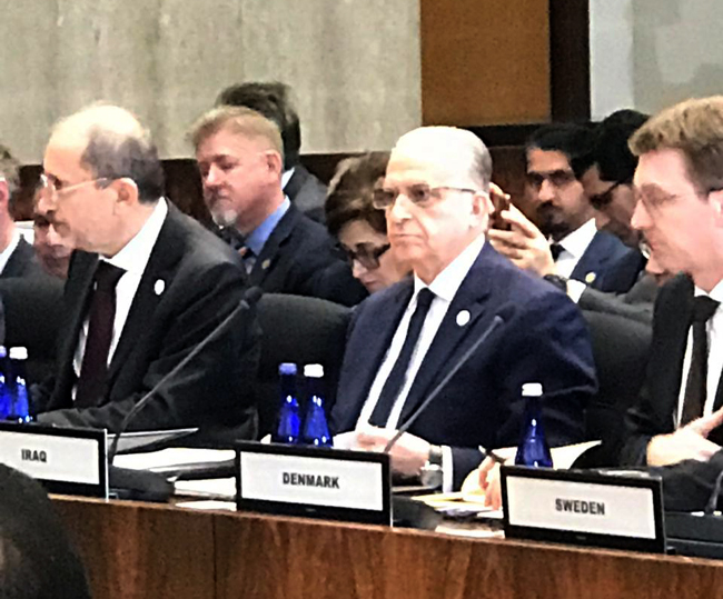 Foreign Minister addresses Iraq at the mini-ministerial meeting of the international coalition to defeat ISIS DMKT8985