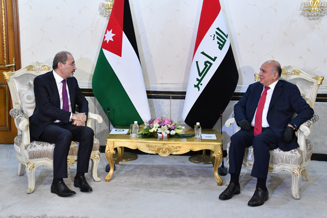 Foreign Minister Fouad Hussein meets his Jordanian counterpart in Baghdad 3-7