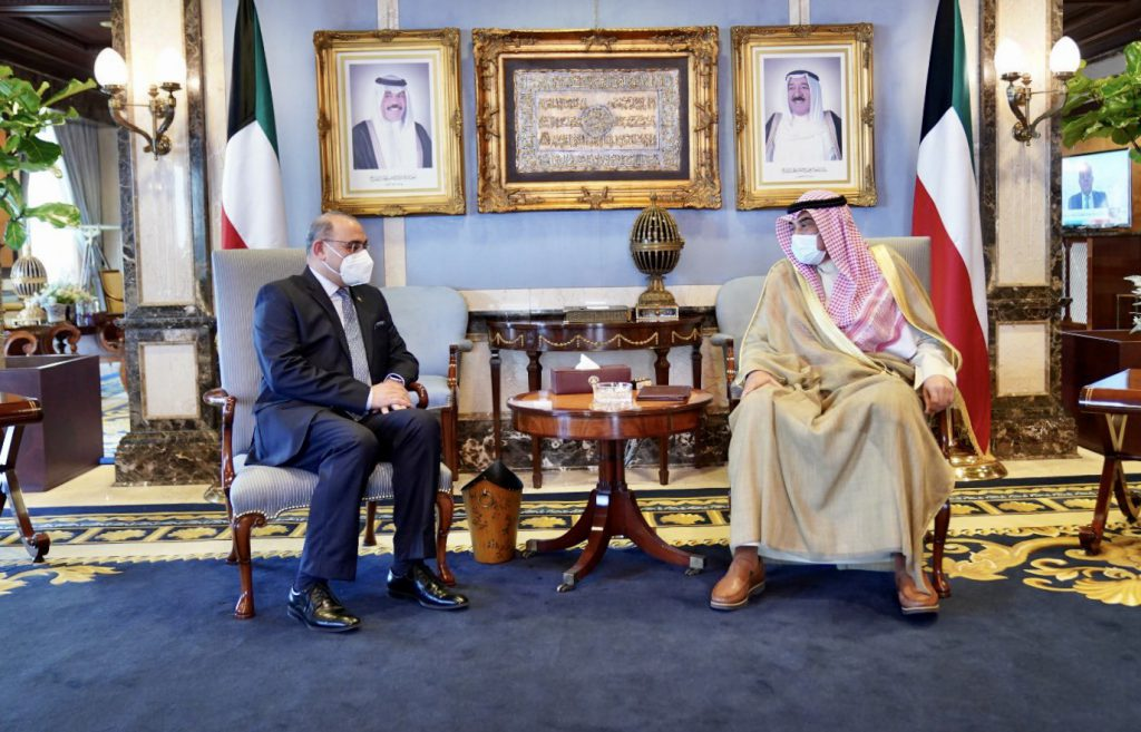 The Ambassador of the Republic of Iraq to the State of Kuwait meets with the Prime Minister and delivers him the invitation letter from his Iraqi counterpart 1198AB1D-E2A2-44B2-859F-BD992F525B4B-1024x657