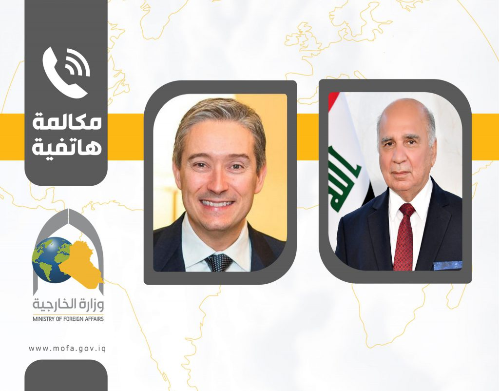 Bilateral relations and the stability of the security situation in Baghdad are two topics that were discussed during a call the Foreign Minister received from his Canadian counterpart. E16B60A9-9A83-4BE6-A070-0189FBE30A6C-1024x802