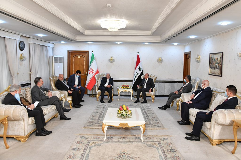 During his meeting with the Iranian Foreign Minister .. Fuad Hussein: The Iraqi government plays a pivotal role in resolving the crises afflicting the region, and an active element in achieving calm and stabilization DSC_6412-1024x682