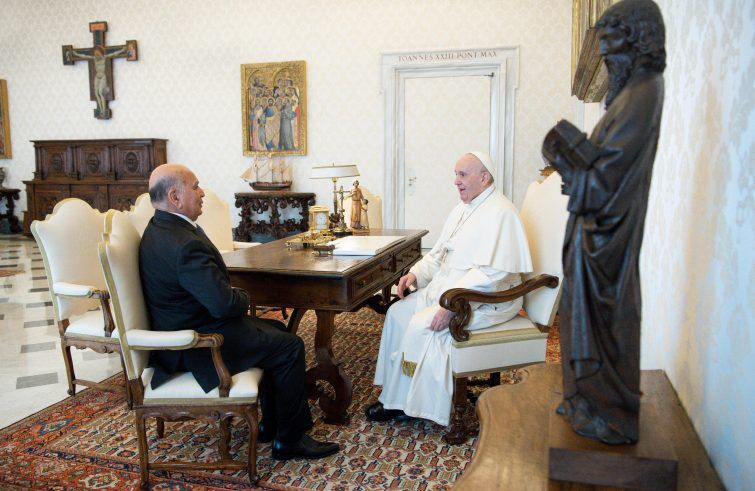 His Holiness, Pope Francis, receives His Excellency the Minister of Foreign Affairs, Fouad Hussein, in the Vatican City State Building WhatsApp-Image-2021-05-03-at-11.29.05-PM