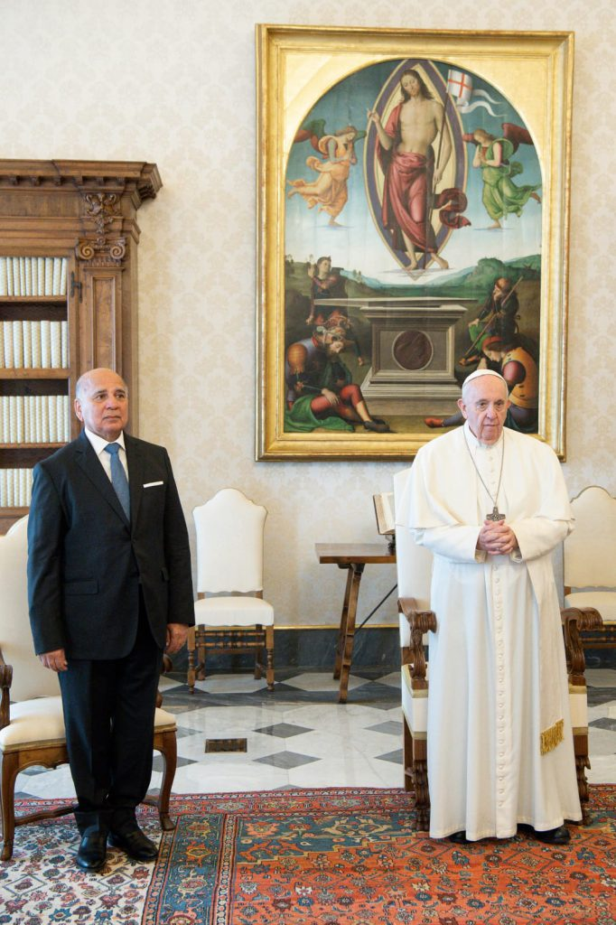His Holiness, Pope Francis, receives His Excellency the Minister of Foreign Affairs, Fouad Hussein, in the Vatican City State Building WhatsApp-Image-2021-05-03-at-8.06.15-PM-682x1024