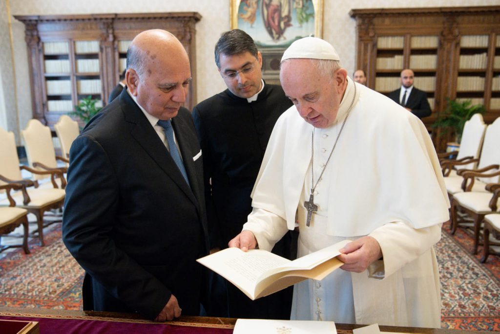 His Holiness, Pope Francis, receives His Excellency the Minister of Foreign Affairs, Fouad Hussein, in the Vatican City State Building WhatsApp-Image-2021-05-03-at-8.06.16-PM-1024x683