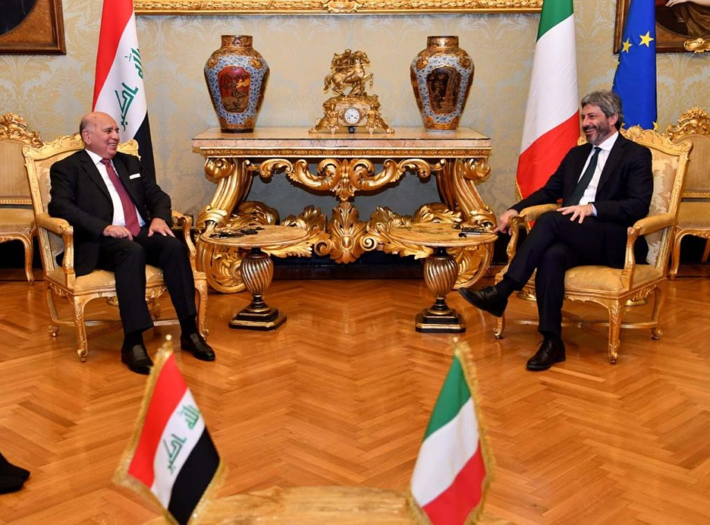 The Minister of Foreign Affairs meets the President of the Italian Parliament and invites him to visit Iraq from the Speaker of the Iraqi Parliament Photo_2021-05-04_00-16-12-1024x757