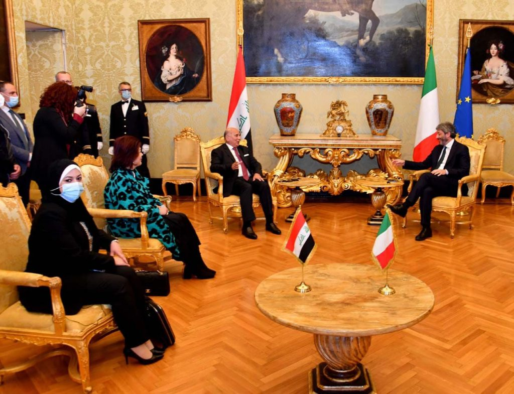 The Minister of Foreign Affairs meets the President of the Italian Parliament and invites him to visit Iraq from the Speaker of the Iraqi Parliament Photo_2021-05-04_00-16-29-1024x785